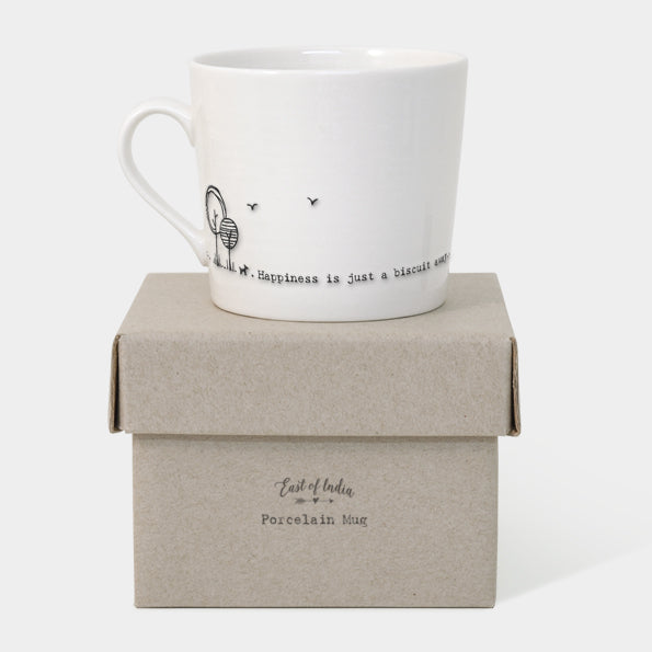 'Happiness is just a biscuit away' Mug
