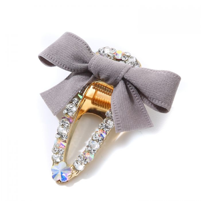 Hair Clip Diamonte & Grey Bow