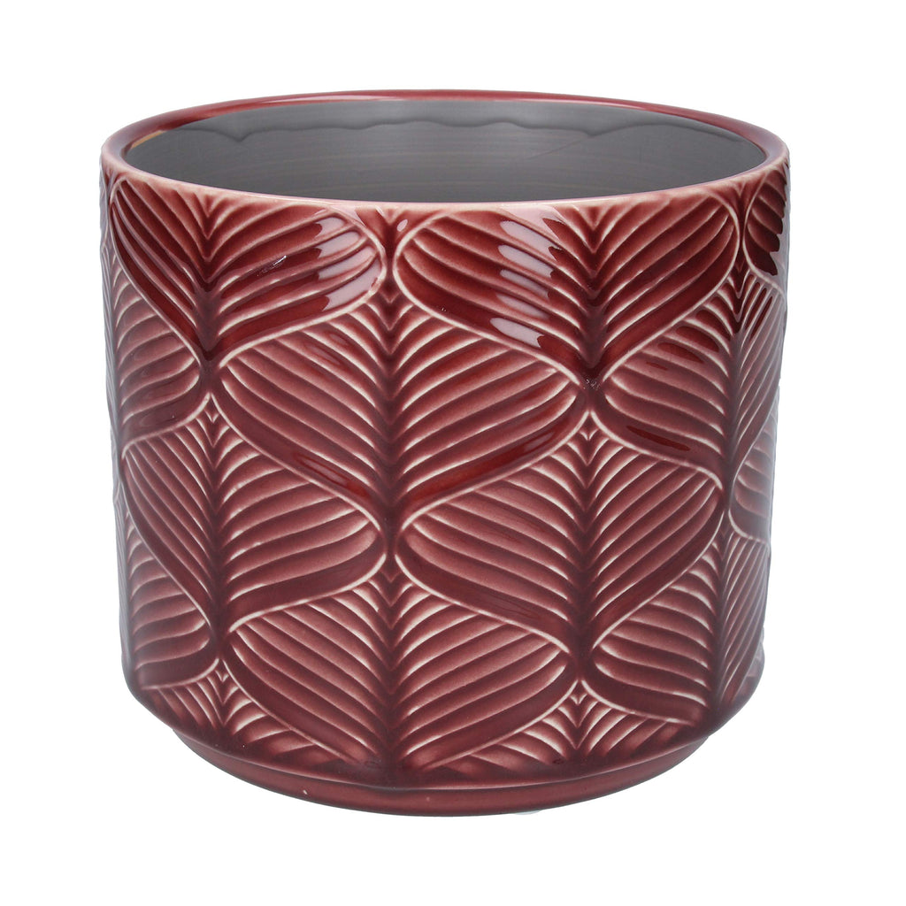 Wavy Ceramic Pot Cover Berry