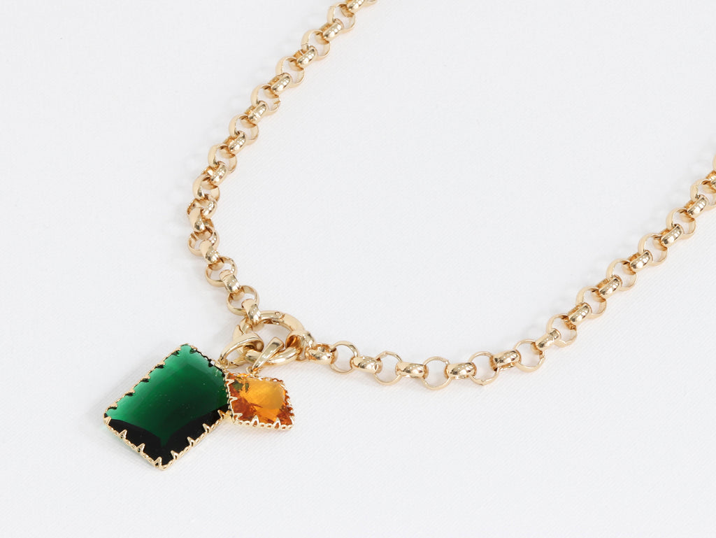 Baguette Plated Brass Belcher Chain Necklace With Lock