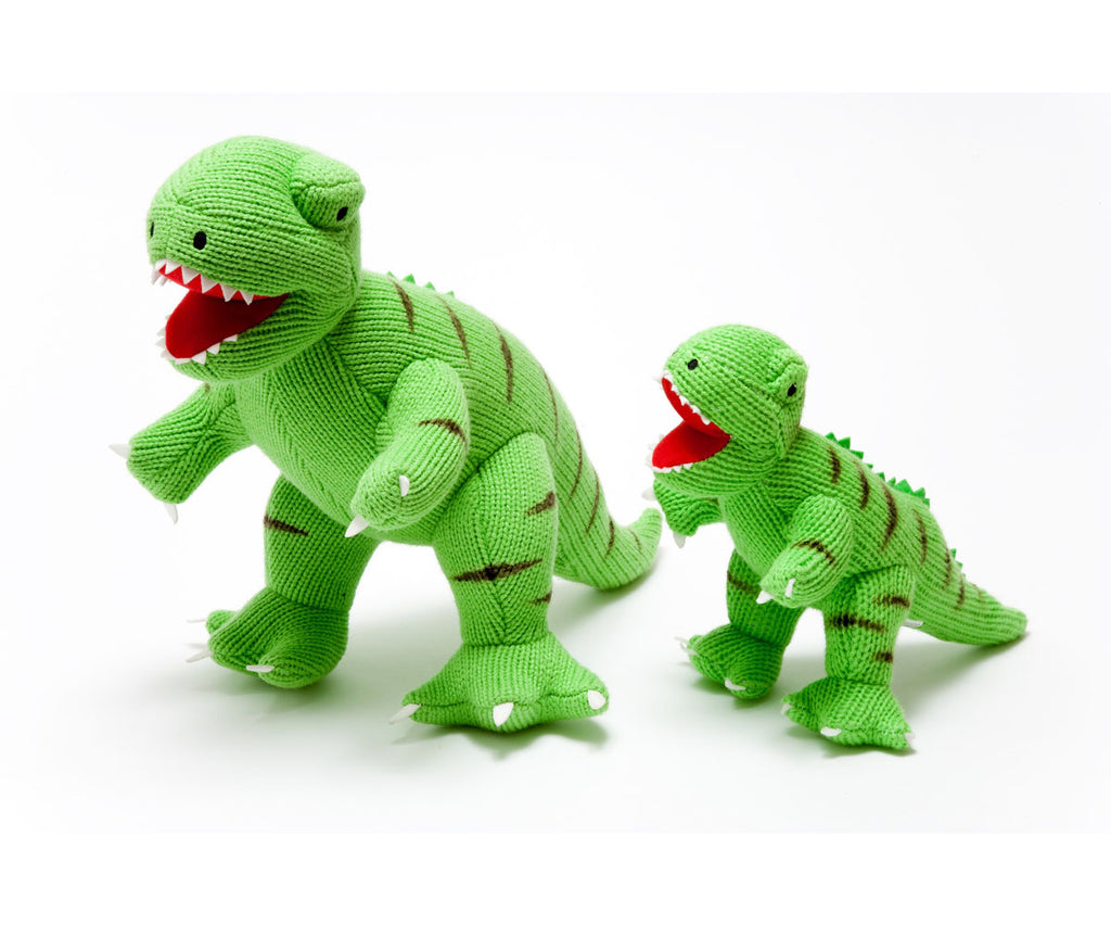 Dinosaur Soft Toy, Knitted Green T Rex Small