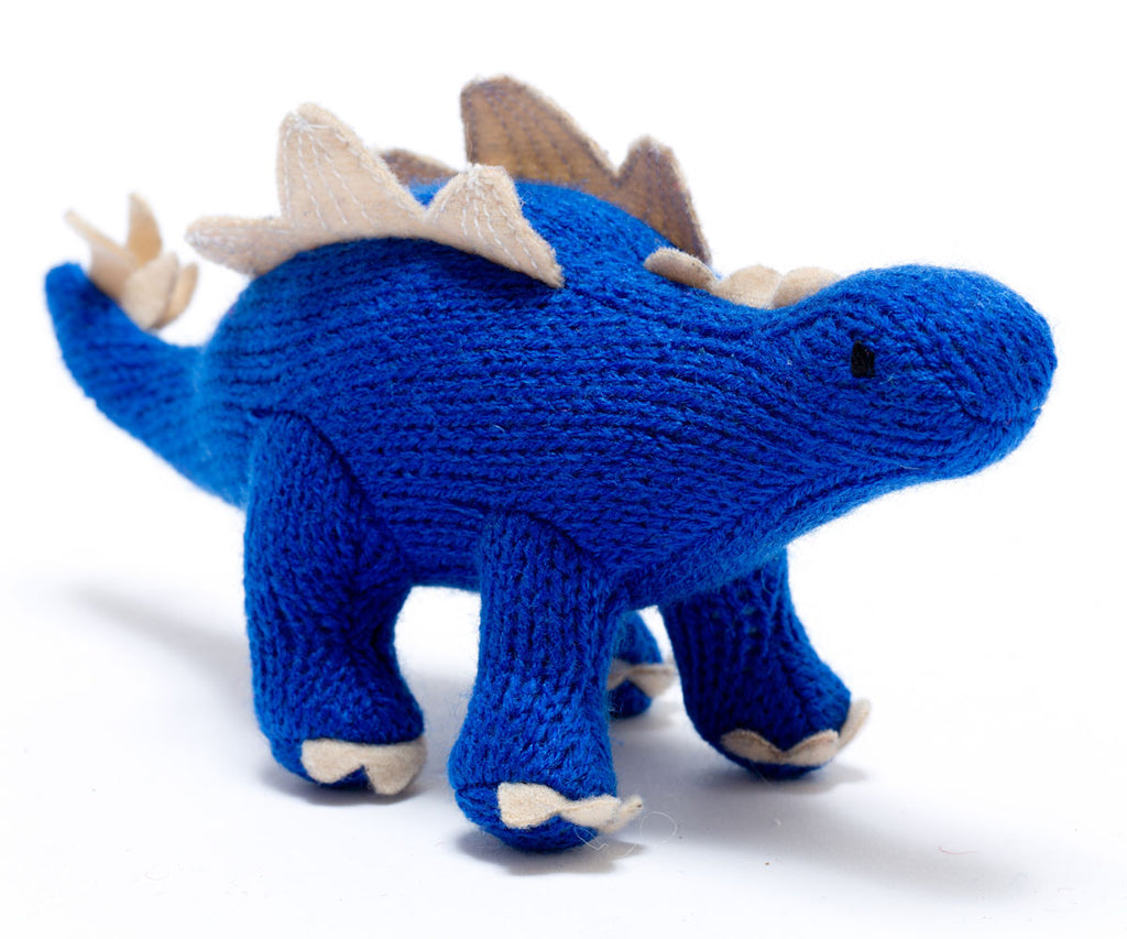Small Knitted Dinosaur Toy, Blue Stegosaurus Rattle