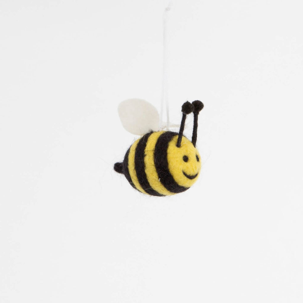Bee Happy Christmas Fun Felt Hanging Decoration