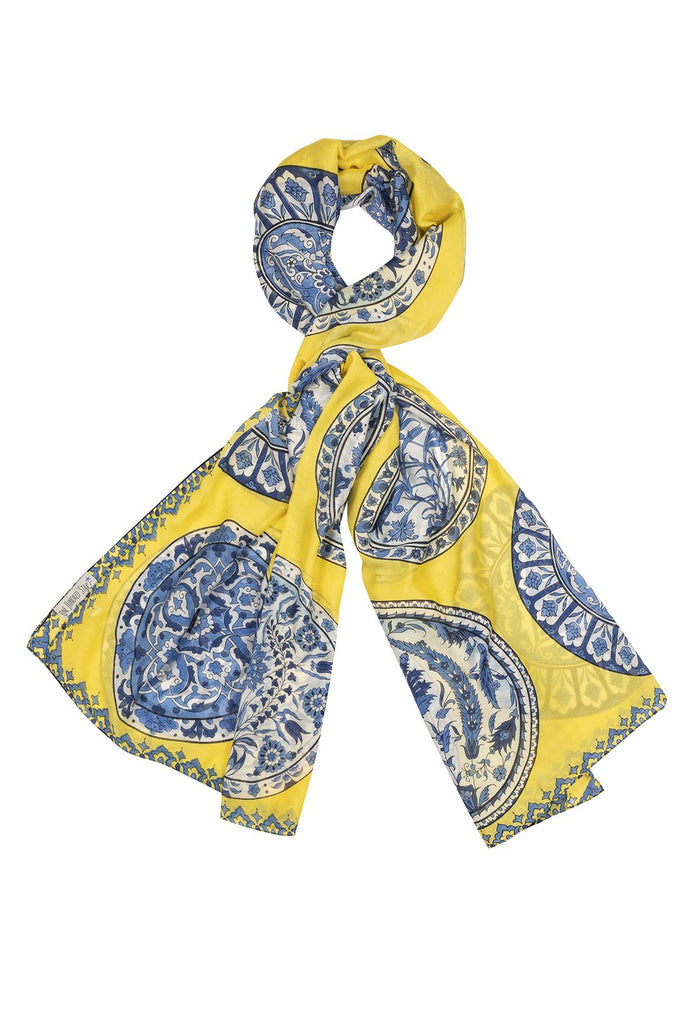 One Hundred Stars China Plates Scarf Yellow
