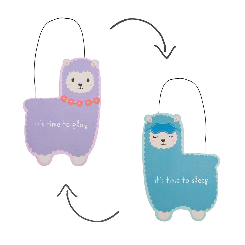 Little Llama Sleep Time Reversible Hanging Door Plaque
