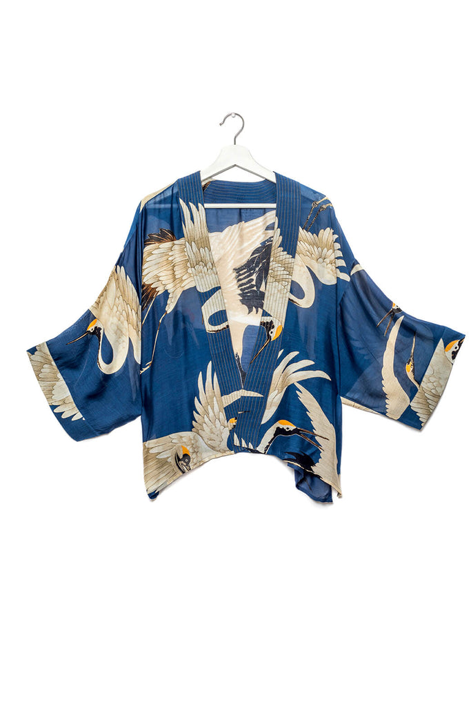 One Hundred Stars Stork Kimono Blue