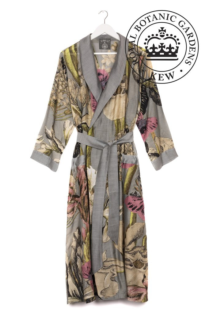 One Hundred Stars & Kew Iris Dressing Gown Grey