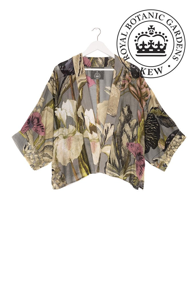 One Hundred Stars & Kew Iris Flower Kimono Grey