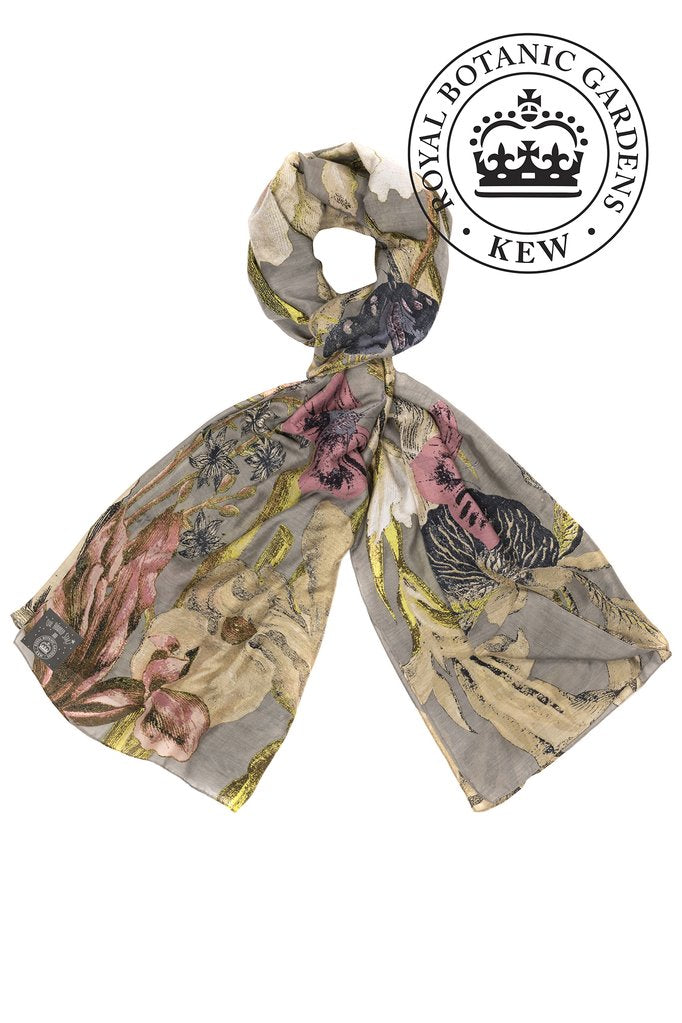 One Hundred Stars & Kew Gardens Iris Flower Scarf Grey