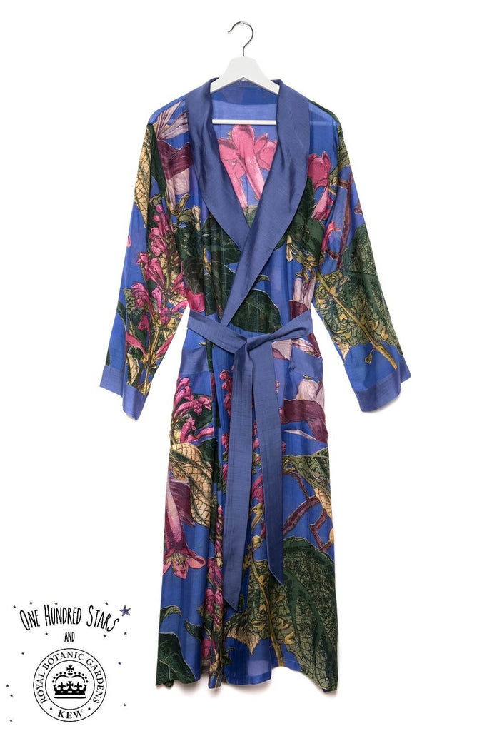 One Hundred Stars & Kew Magnolia Dressing Gown Purple