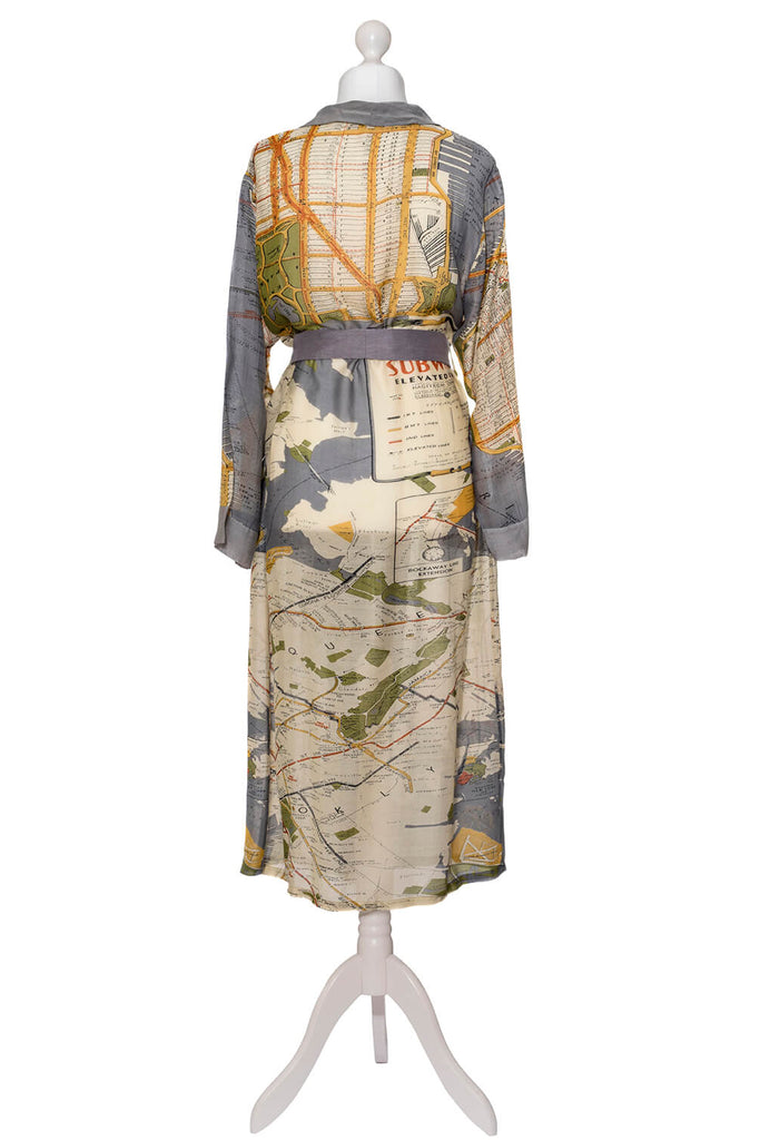 One Hundred Stars New York Map Dressing Gown back