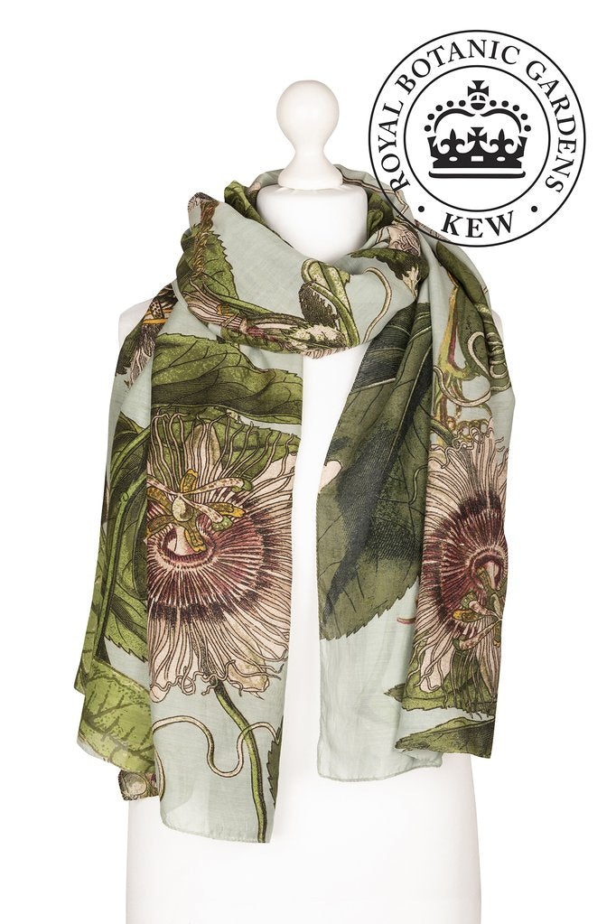 One Hundred Stars & Kew Gardens Passion Flower Scarf Aqua