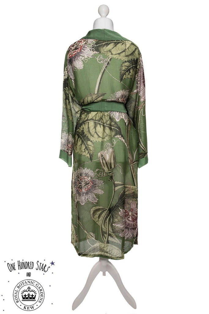 One Hundred Stars & Kew Passion Flower Dressing Gown Green