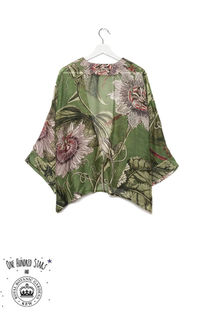 One Hundred Stars & Kew Passion Flower Kimono Green