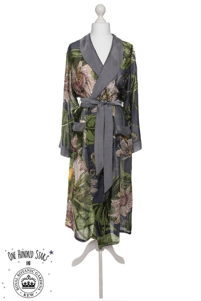One Hundred Stars & Kew Passion Flower Dressing Gown Grey