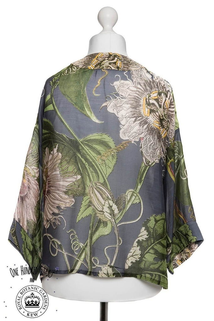One Hundred Stars & Kew Passion Flower Kimono Grey