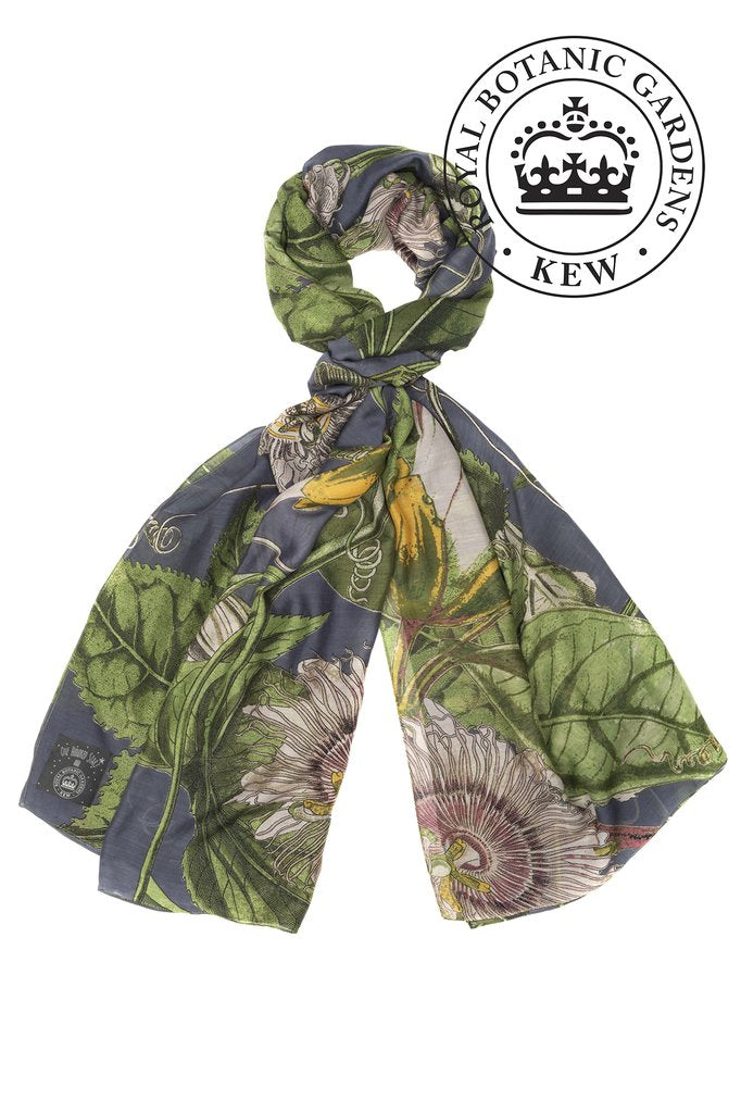 One Hundred Stars & Kew Gardens Passion Flower Scarf Grey