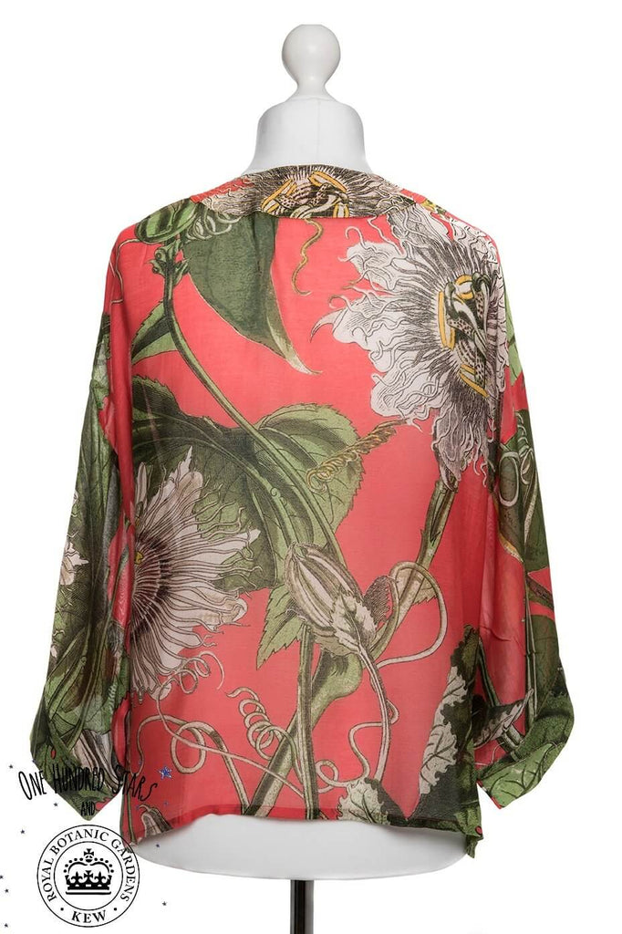 One Hundred Stars & Kew Passion Flower Kimono Coral