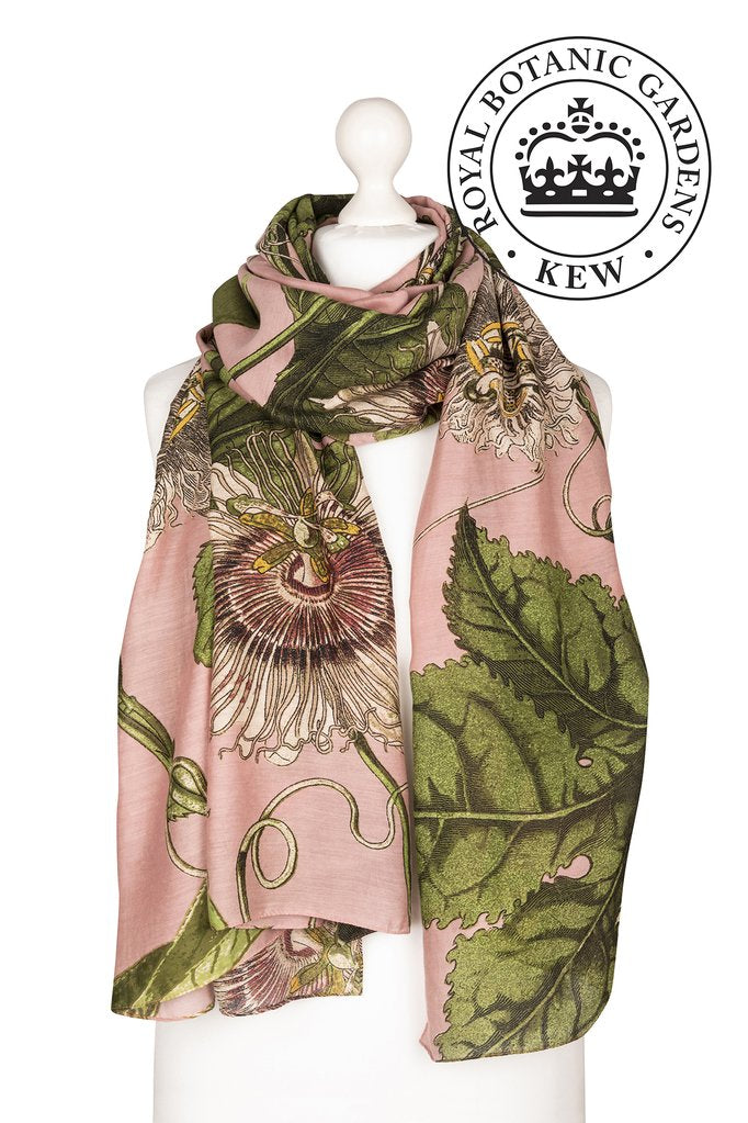 One Hundred Stars & Kew Gardens Passion Flower Scarf Pink