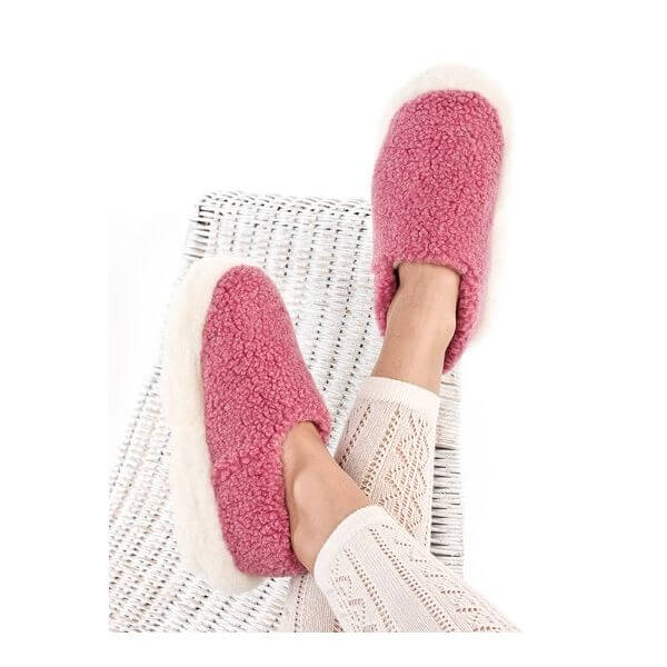Pink Wool Unisex Slippers