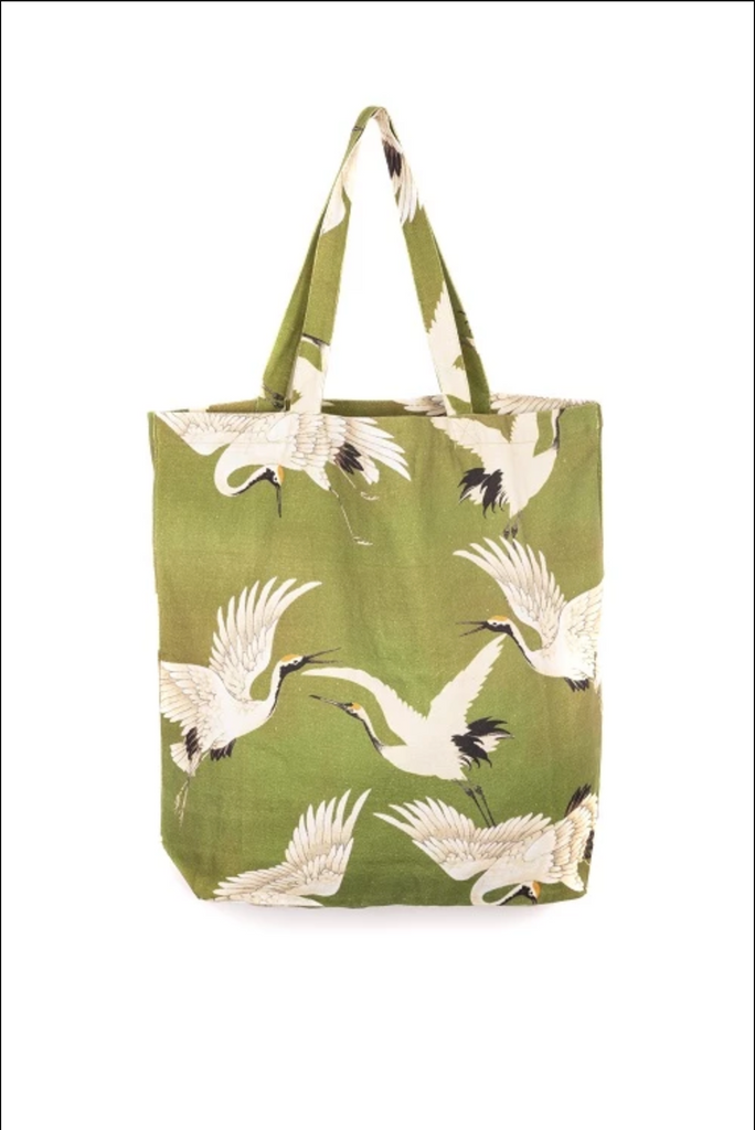 One Hundred Stars Stork Tote Bag Green