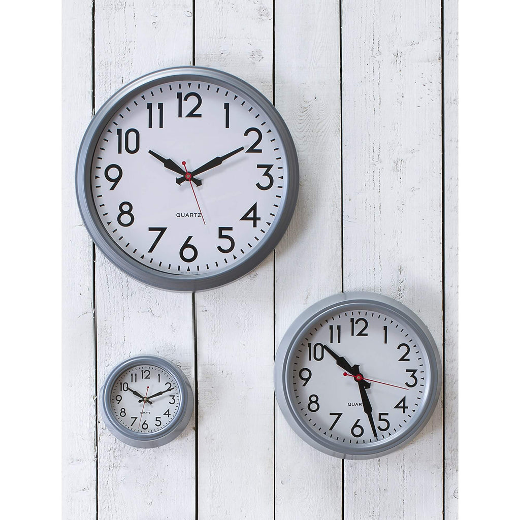 Grey Retro Wall Clocks All Sizes