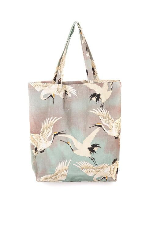 One Hundred Stars Stork Tote Bag Aqua