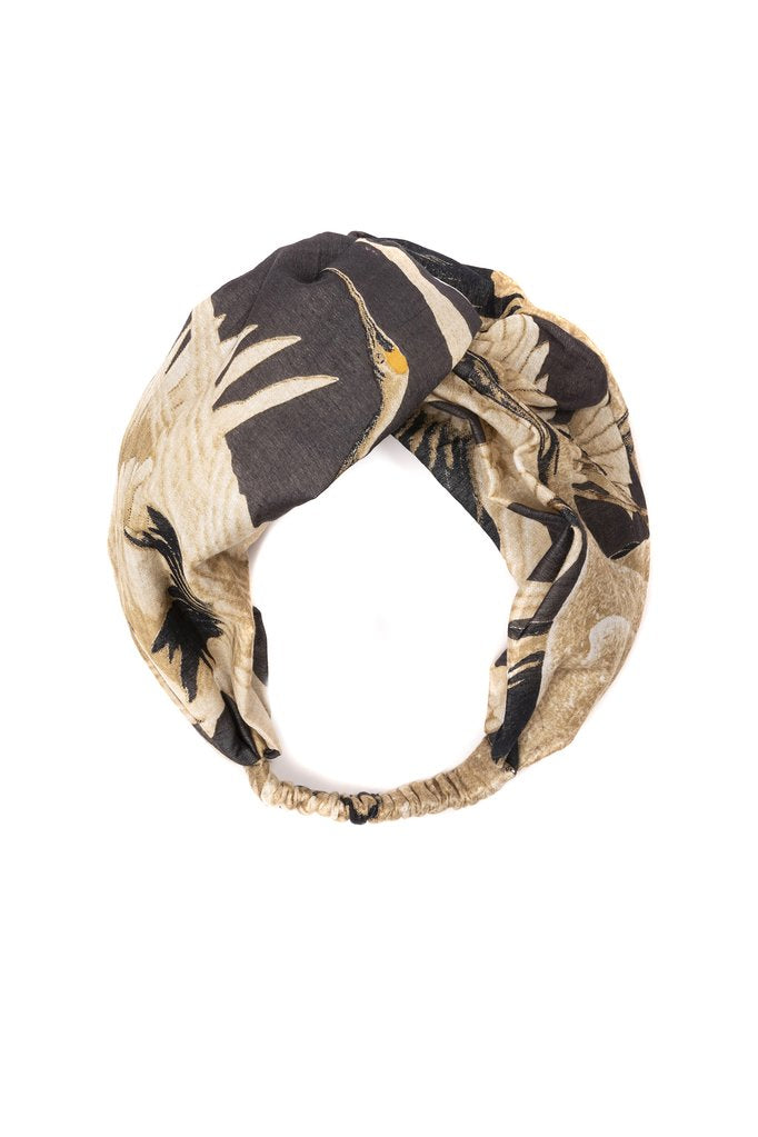 One Hundred Stars Stork Charcoal Headband