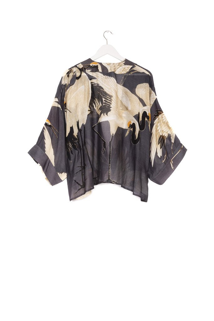 One Hundred Stars Stork Kimono Charcoal