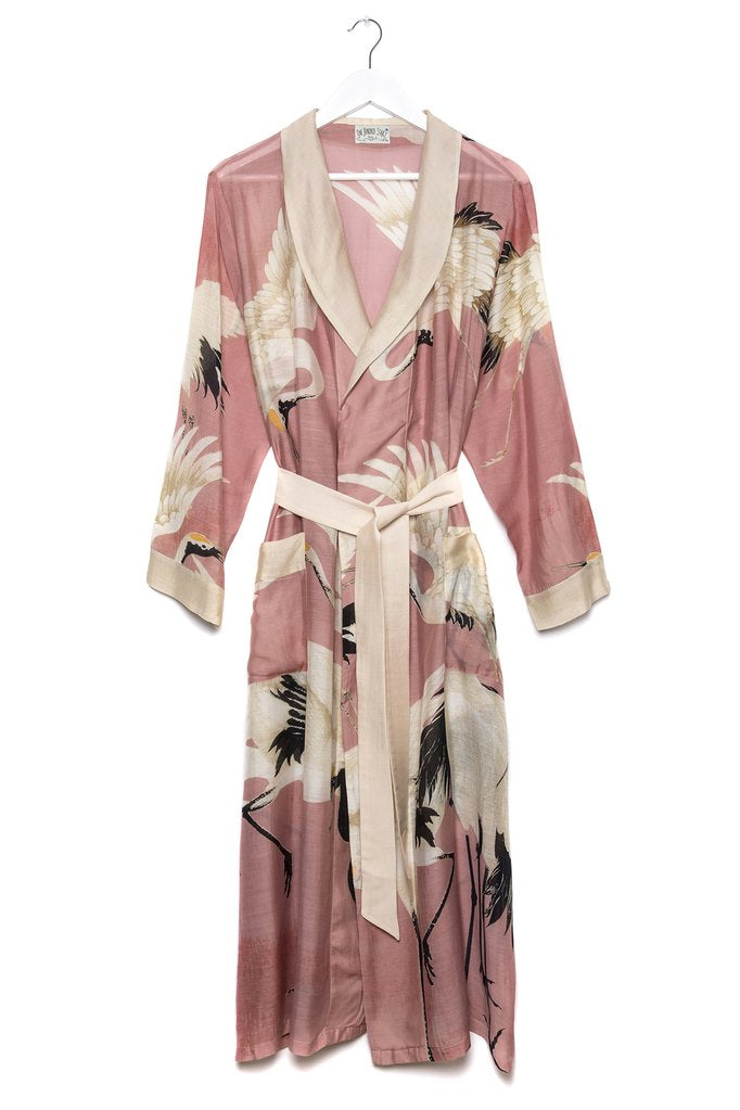 One Hundred Stars Stork Dressing Gown Pink
