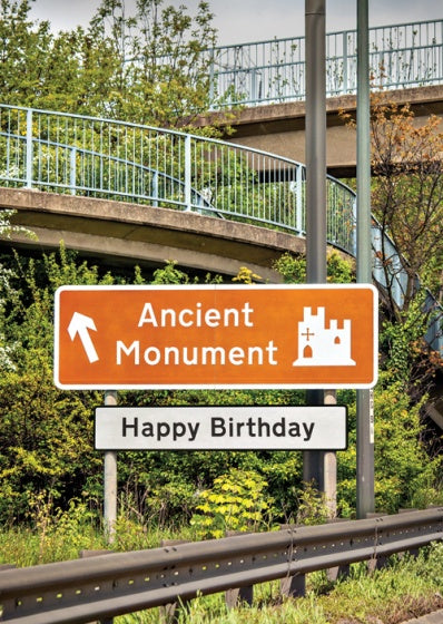 Birthday Card Road Sign Ancient Monument