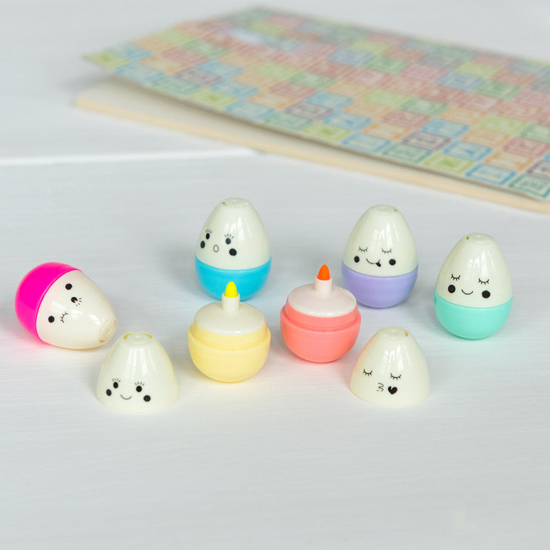 Egg Shaped Emoji Highlighters (pack of 6)