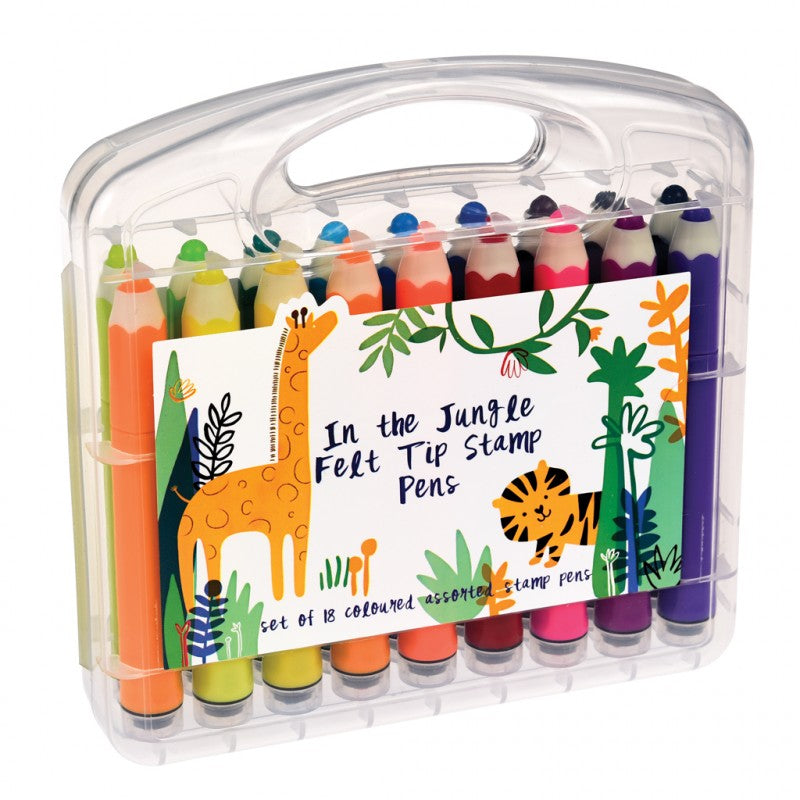 In The Jungle Felt Tip Stamp Pens (set Of 18)