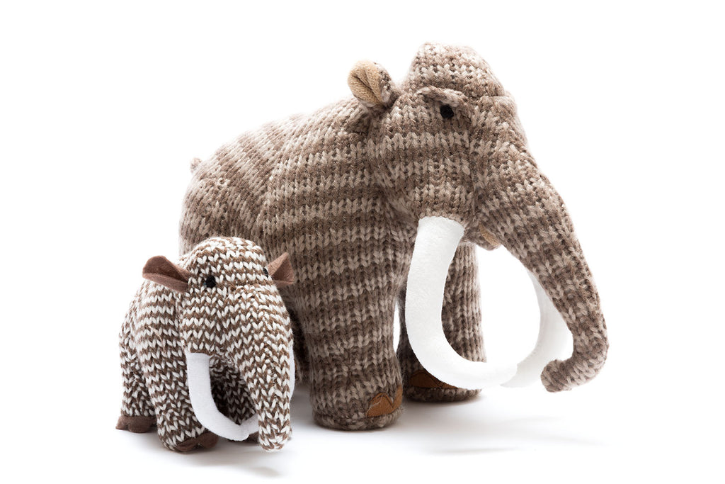 Knitted Dinosaur Soft Toy, Stripe Woolly Mammoth Medium