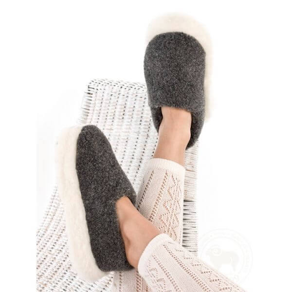 Graphite Wool Unisex Slippers