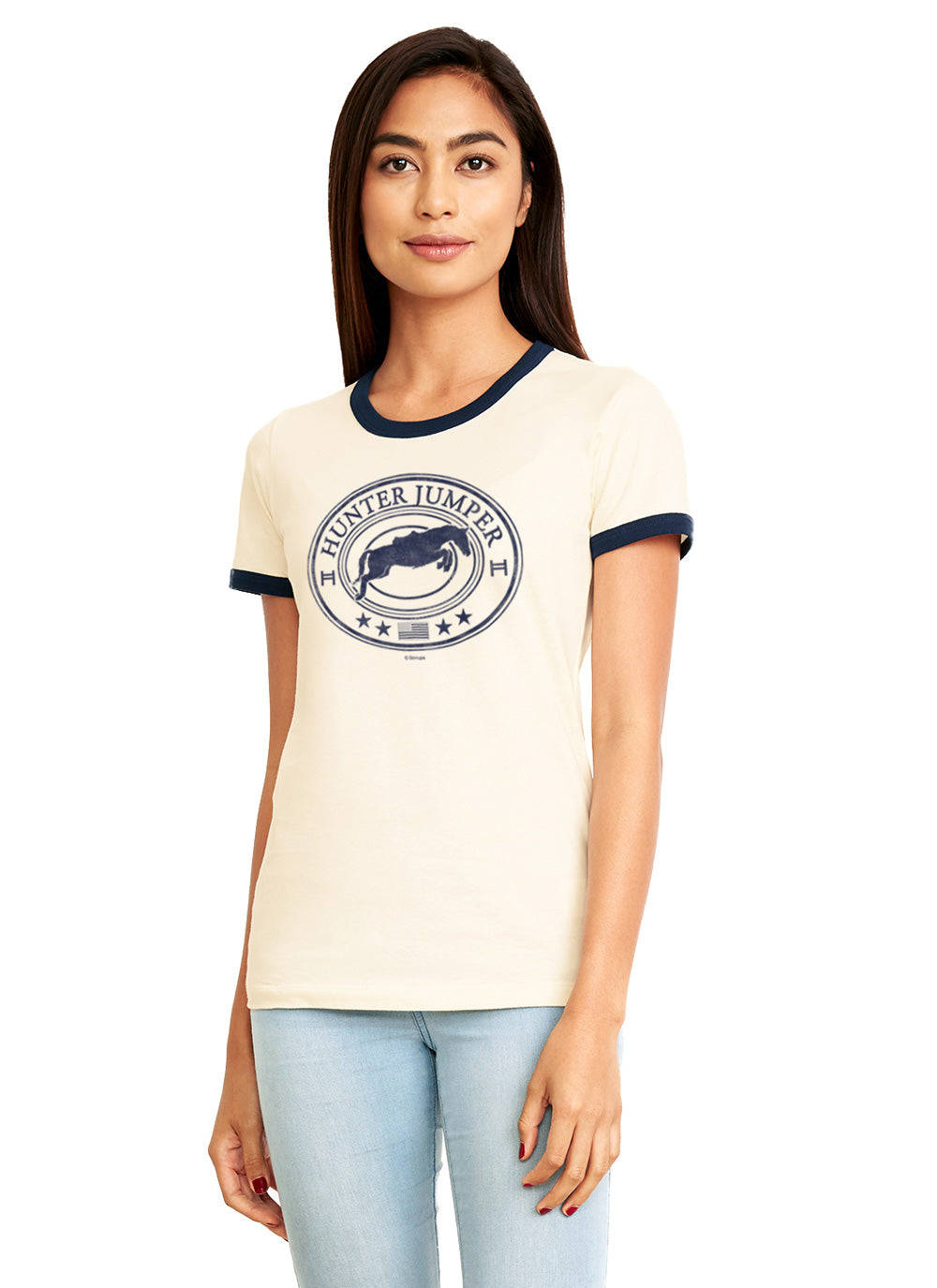Hunter Jumper Ladies Short Sleeve Ringer Tee 19128