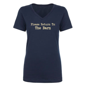 Please Return To Barn Ladies Short Sleeve V Neck Tee 20124