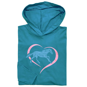 20558 - Horse in Heart Youth Long Sleeve Hooded Tee