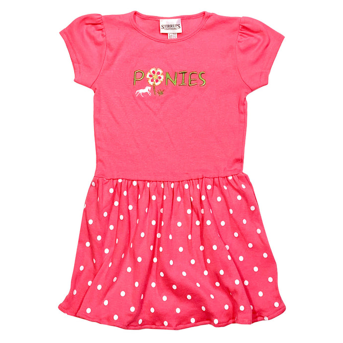 Ponies Embroidered Toddler Dress T112
