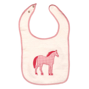 Pink Check Horse Infant Bib (Appliqué) T225