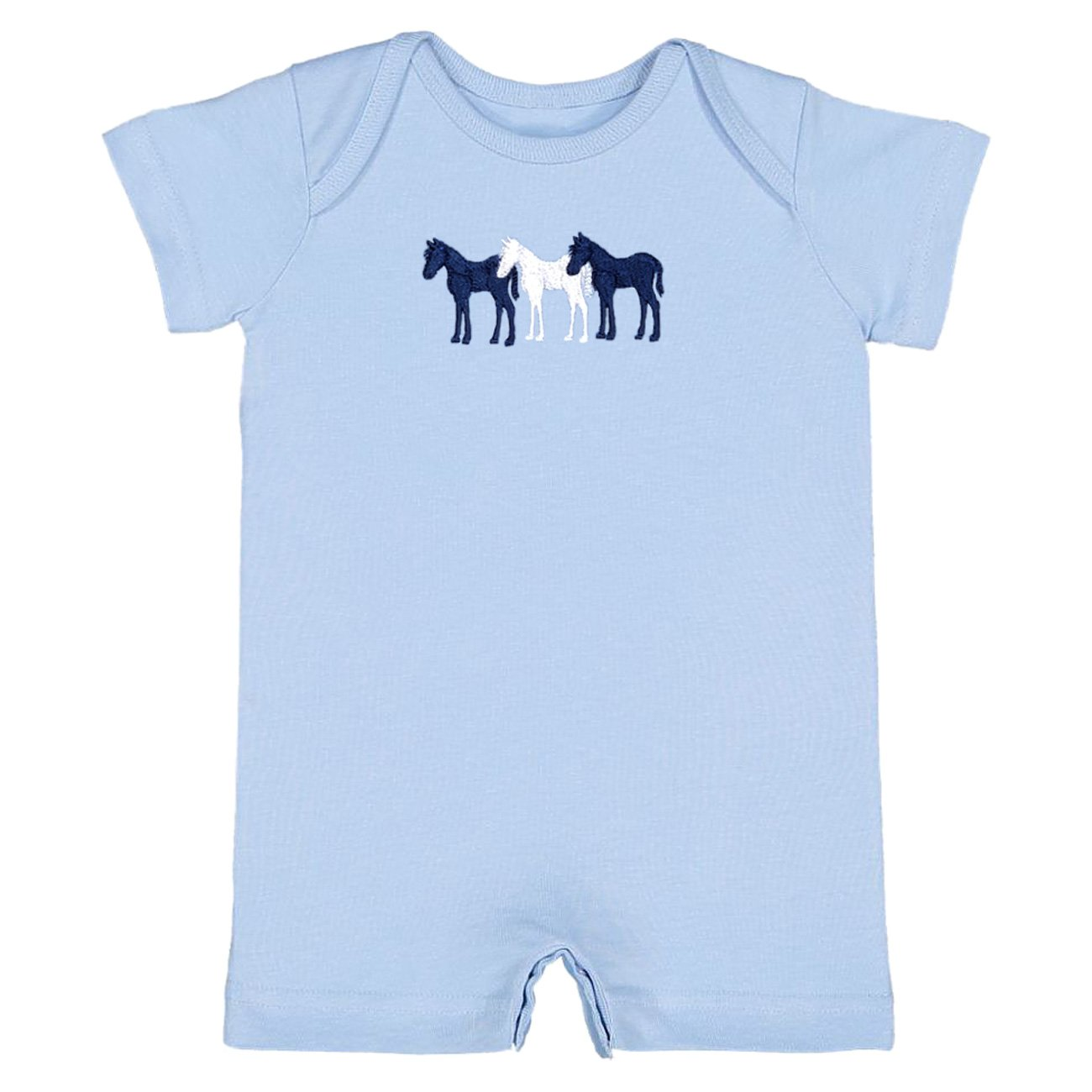 3 Ponies Infant Romper, Light Blue