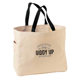 Giddy Up Embroidered Tote Bag