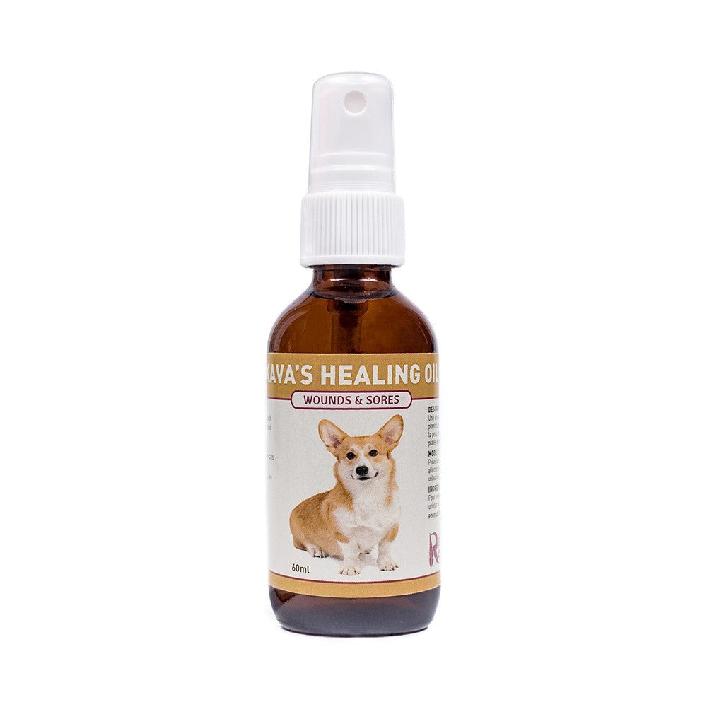 Kava's Healing Oil is an amazing blend that works wonders on dogs with rashes, wounds, sores and hot spots. It has powerful antibacterial and anti-fungal properties. It also helps keep wounds clean and speeds up the healing process. OnTotalWellness distributing for Ontario