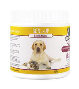 Bone-up is a supplement for large breed dogs or senior dogs and cats with hind-end weakness and/or stiff, sore joints. If your dog or cat is stumbling, this will get their strength and mobility back! This unique easy-to-absorb nutritional blend also helps to repair injuries, sprains, strains and breaks. OnTotalWellness distributing for Ontario