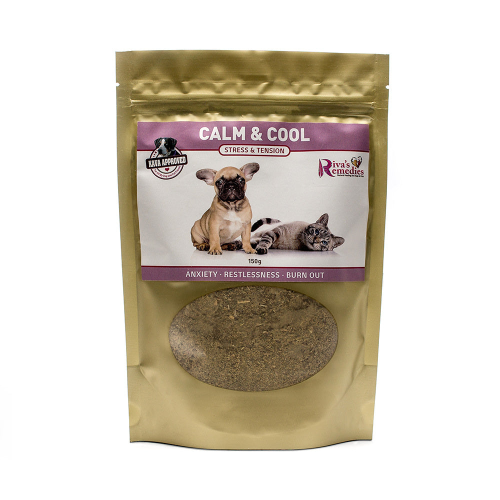Calm & Cool is a safe and natural herbal blend for dogs and cats with chronic anxiety. It is formulated for animals that have experienced prolonged periods of anxiety and nervousness. Symptoms include low threshold for stress which results in chronic barking, chewing, bladder weakness and aggression. OnTotalWellness distributor for Ontario