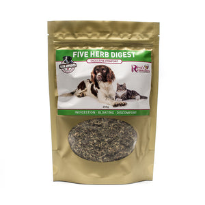 Five Herb Digest is a blend of herbs for dogs and cats with gas, bloating or are vomiting after they eat. It will soothe their tummy and provide relief for all symptoms related to digestive upset including nausea, vomiting, cramping and heartburn. OnTotalWellness distributor for Ontario