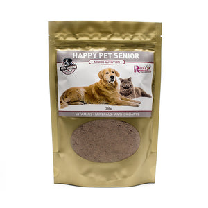Happy Pet Senior is specifically formulated to support your dog or cat through the golden years. It is the most natural, plant-based choice on the market for a mineral and vitamin supplement. It is packed full of natural nutrition that is easily absorbed. It improves mental clarity, focus, bright eyes and a shiny coat. OnTotalWellness distributor for Ontario