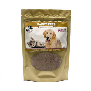 Happy Pets is the most natural, plant-based choice on the market for a mineral and vitamin supplement for dogs and cats. It is full of natural nutrition that is easily absorbed. It will not only make your healthy dog or cat healthier but it will also help resolve dry flaky skin, hair loss and/or weak and cracking claws. OnTotalWellness distributor for Ontario