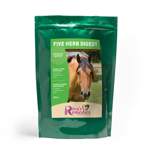 Five Herb Digest promotes optimum stomach digestion, supports digestive conditions due to acid and maintains a healthy intestinal system in horses, ponies and donkeys. This blend is fantastic to offer during the spring transition onto grass. OnTotalWellness distributes in Ontario