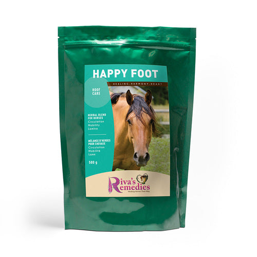 Happy Foot was formulated in response to requests from hoof trimming specialists who prefer a natural approach to pain and discomfort. This herbal blend promotes circulation, mobility and healthy hoof biomechanics. OnTotalWellness distributing for Ontario